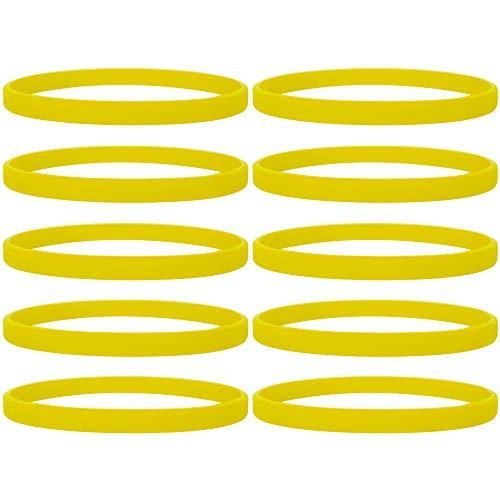 100 Stück Silikon Jelly Armbänder für Jugendliche, Gummi Armreifen, Partyzubehör- Gelb