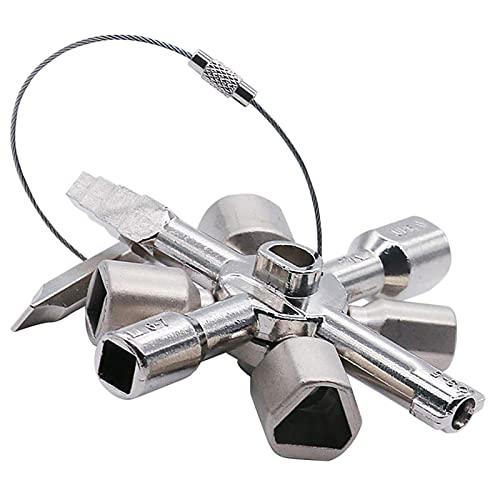 Llave de la Caja del Medidor Llave Portátil 10 en 1 Llave de Utilidad Multifuncional Llave Triangular para el Gabinete de Control del Panel del Armario de la Caja del Medidor Eléctrico del agua Gas