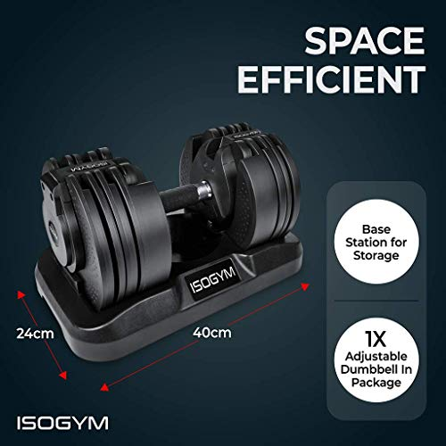 ISOGYM Adjustable Dumbbell 2kg-20kg Weight Set (Quick Change Weight Adjustment) 16 Weight Selections Single Dumbbell Per Package