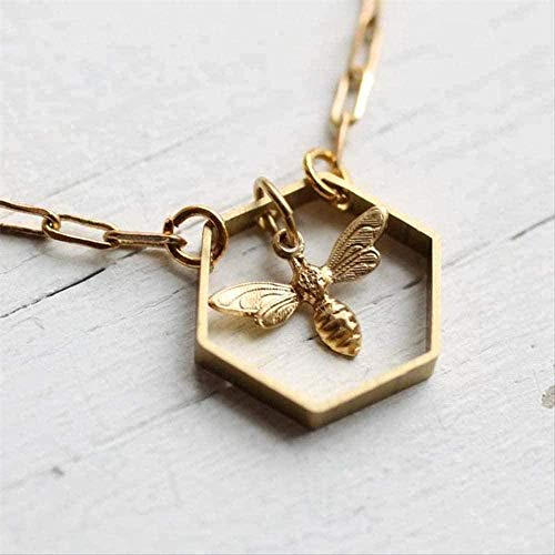 ZGYFJCH Co.,ltd Necklace Gold Plated Hexagonal Geometric Necklace Bee Hive Necklace for Women Insect Chain Pendant Female Necklace Party Jewelry