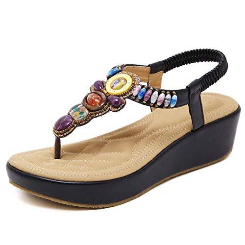 IOAOAI 2019 Summer Casual Sandalias Romanas Ms Shoes Pendiente Sandalias Femeninas Beads She Plus Size Femme Soft Open Toe Wedges (Color: Negro, Tamaño: 36 EU)