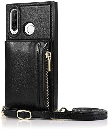 SLDiann Case for Huawei P30 lite, Zipper Wallet Case with Credit Card Holder/Crossbody Long Lanyard, Shockproof Leather TPU Case Cover for Huawei P30 lite (Color : Black)