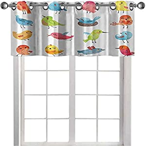 Blackout Small Window Valances Curtains Colorful Cute Birds Watercolor Effect Humor Funny Mascots Paint Brush Art Kids Design Elegant Curtains Valance for Kitchen Multi