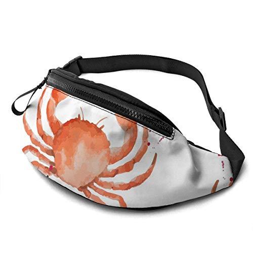 XCNGG Bolso de cintura corriente bolso de cintura de ocio bolso de cintura bolso de cintura de moda Watercolor Crab Waist Pack Bag for Men Women,Casual Running Belt Bags Hip Bum Bag with Adjustable St
