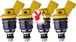 yise-C789 New 4PCs Fuel Injector Flow Matched 555cc Nismo Side Feed 16600-RR543 For 300ZX Z32 RB25DET VG30DETT SR20DET KA24 Yellow