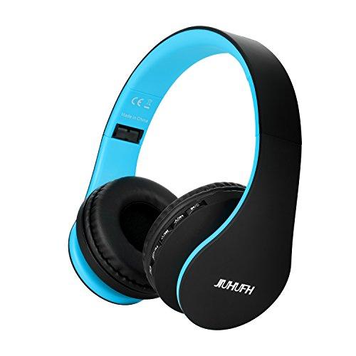 JIUHUFH Cuffie Bluetooth 5.0 senza Fili con Microfono Incorporato Auricolare Pieghevoli Cuffia Wireless per Telefoni Cellulari/PC/TV/Mac - Nero Blu