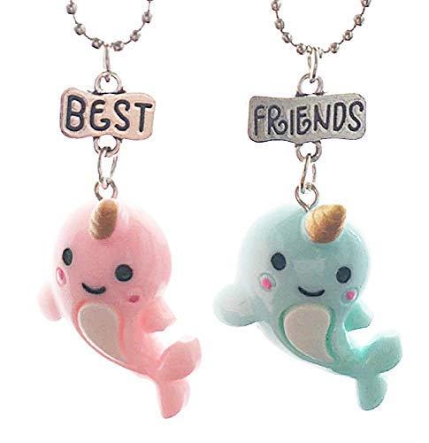 Inception Pro Infinite Dos collares de niña – Mejores amigos para 2 – Amistad – Kawaii X 2 – Best Friends – BFF – Delfines – Navidad – Peces – Unicornio – Color rosa y azul – Par