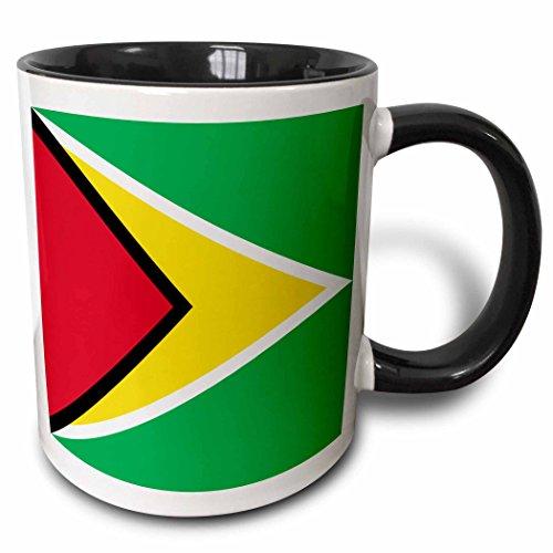 3dRose Flagge Guyana-The Golden Arrow-co-Operative Republik Südamerika rot grün gelb White-Two Ton Tasse, Keramik, Schwarz, 10,2x 7,62x 9,52cm