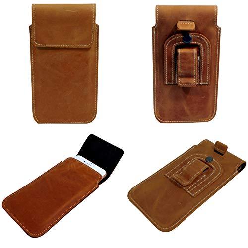 Gürtel Vertikal Leder Handytasche braun mit Stahlclip und Sicherungsschlaufe für Samsung Galaxy A12 A32 M21