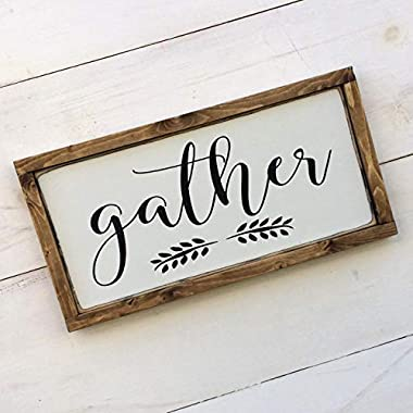 Handmade Wooden Gather Sign Black and White Solid Wood Frame, 3 Sizes