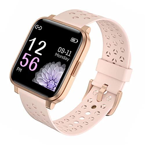 Smartwatch, 1.69' Reloj Inteligente 17 Modos Deportivo Reloj Pulsera Actividad Inteligente Con PulsóMetro Monitor De SueñO Monitores CaloríAs PodóMetro Ip68 Impermeable Para Android E Ios,Rosado