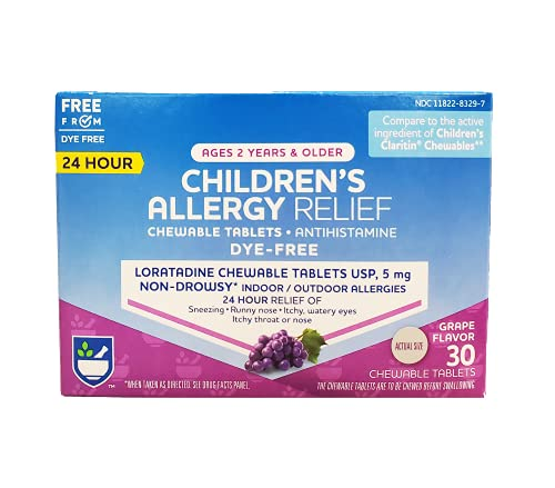 Rite Aid Children's Non-Drowsy Allergy Relief Chewable Tablets, Grape Flavor, Loratadine, 5 mg - 30 Count | Children's Allergy Medicine | Allergy Medication Tablets for Kids