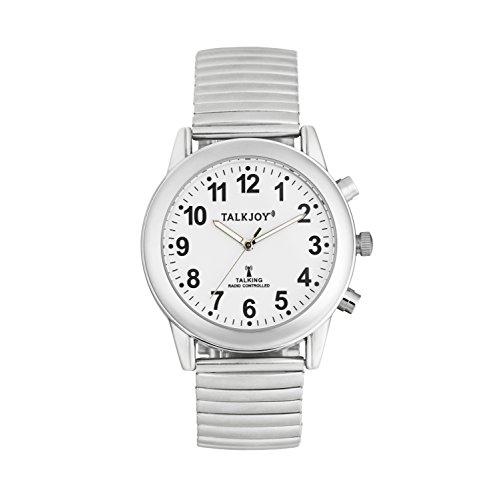 Damen Sprechende Uhr Funkuhr Metallzugarmband Silber Blindenuhr Datum Sehhilfe
