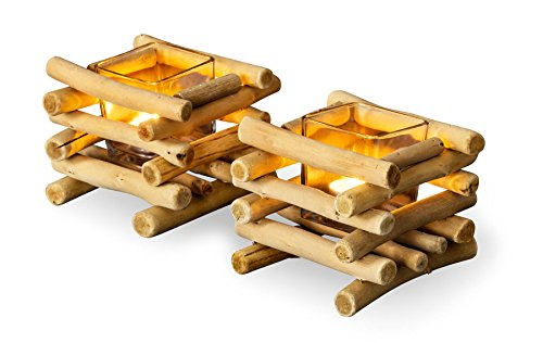 levandeo 2er Set Teelichthalter Treibholz 15 x 15 cm Holz Glaseinsatz Kerzenhalter Tischdeko