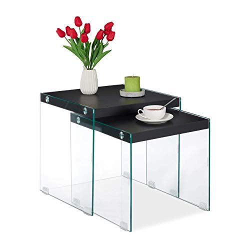 Relaxdays Nesting End, Set of 2, Made of Glass & MDF, Square, Living Room Table, High, Black Beistelltisch 2er Set aus Glas & MDF eckig Design Wohnzimmertisch 40-45 cm hoch schwarz, 45 x 45 x 45 cm