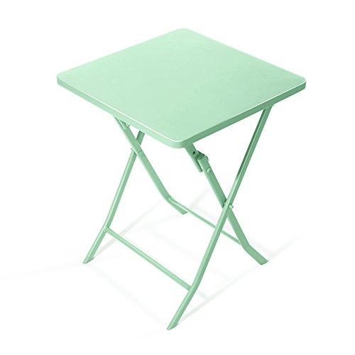 GaoXu ZheDieZhuo HAKN Table Pliante/Petite Table carrée/Fer Table d'art de Rouille de Pliage/Bureau d'ordinateur/Table de décoration à la Maison / 55 * 55 * 71CM (Couleur : Le Jaune)