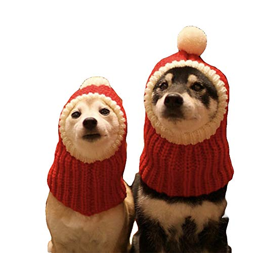 NACOCO Christmas Dog Hat Crocheted Snood Funny Pet Cap with Pompon Red Green Warm Winter Dog Hat Knit Snood Headwear for Pets & Women & Men (Red, S)