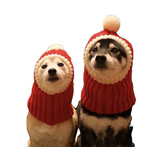 NACOCO Lustige Weihnachtsmütze mit Pompon gehäkelter Schal für Hunde, Rot Warme Wintermütze Strick Schal Kopfbedeckung für Haustiere & Frauen & Mann, S, rot