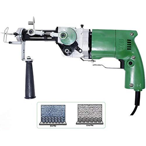 DTKJ Máquina eléctrica para tejer alfombras y tapices de pared, juego de máquina de punzonado eléctrico de mano que puede cortar pelo y pelo de bucle portátil (220 V)