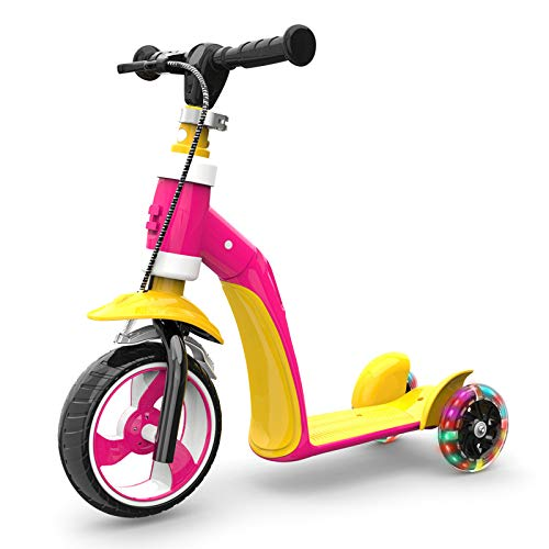 LITIAN 1-3 Jahre alt Kinder Scooter Can Sit Kind Baby Multi-Funktions-DREI-Rad-Flash-Scooter Yellow pink