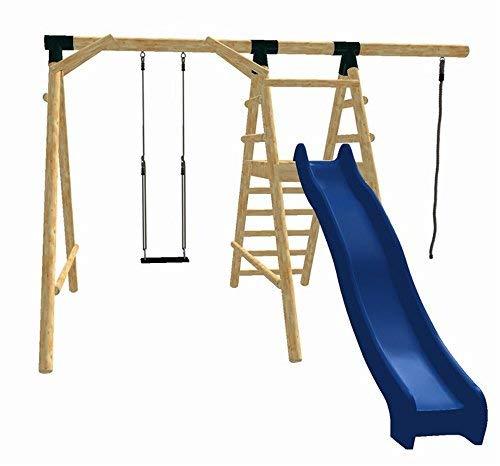 LoggyLand 8013 - Holz-Schaukel-Set ULTIMATE aus Lärche/Douglasie mit Schaukelsitz, Rutsche, Seil und Kletterpodest