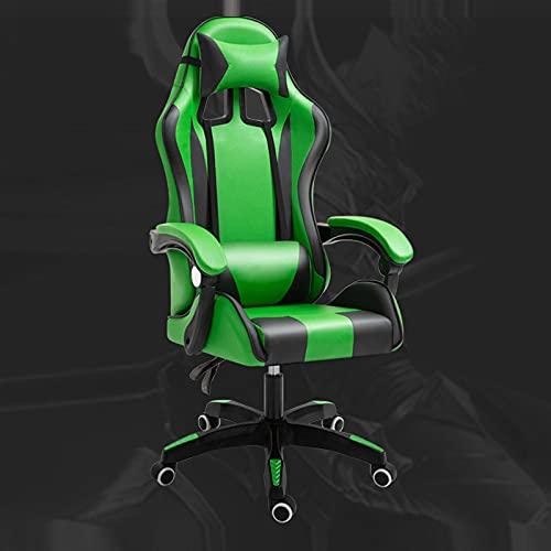 Sedia Da Gioco Girevole,Ergonomica Con Comoda Supporto Poggiatesta E Lombare Massaggio,Sedia Da Gioco Altezza Regolabile,Standard-Green