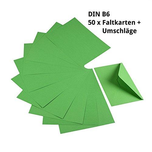 Sparset 50 x Faltkarten DIN B6 grün + 50 x passende Umschläge