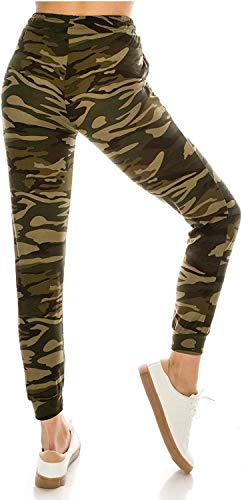 MUKHAKSH Women's & Girls' Regular Fit Joggers (Women Camouflage Print jegging_Green_X-Large)