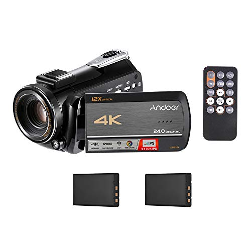 Digital Video Camera Camcorder,Andoer 4K UHD 24MP WiFi Anti-Shake Recorder DV 3.1 Inch IPS Touchscreen 12X Optical Zoom Time-Lapse Face Detection with Hot Shoe Mount 2pcs Lithium Batteries