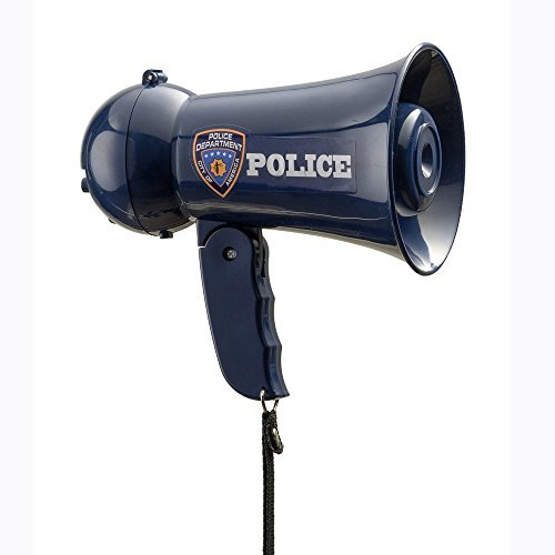Dress up America Pretend Play Kids Police Officer's Megaphone with Siren Sound and Handheld Mic Toy (Blue) by