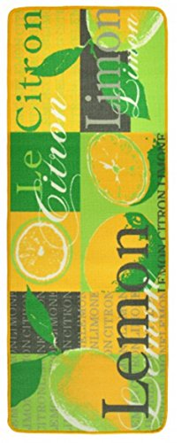 Küchenläufer Küchen Läufer Teppich Loop Flur Barteppich Esszimmerteppich für Esszimmer Küche Bar Lemon gelb grün le Citron 67 x 180 cm