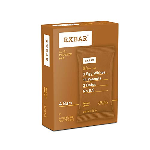 RXBAR, Peanut Butter, Protein Bar, 1.83 Ounce (Pack of 4), High Protein Snack, Gluten Free