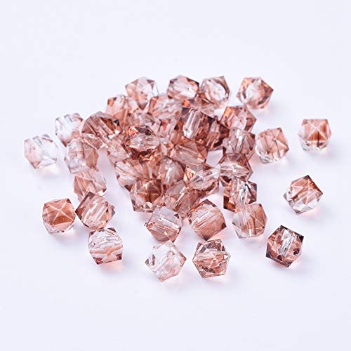 PandaHall 100 cuentas de polígono acrílico transparente de dos tonos de 8 mm pintadas en aerosol, espaciador de plástico facetado, cuentas sueltas para pulseras, hacer joyas, salmón ligero