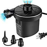 semai Electric Air Pump Portable Quick-Fill Air Pump for Inflatable Couch, Air Mattress, Swimming Ring, Inflatable Pool Toys, Powerful Electric Inflator/Deflator Air Pump with 3 Nozzles 110V AC