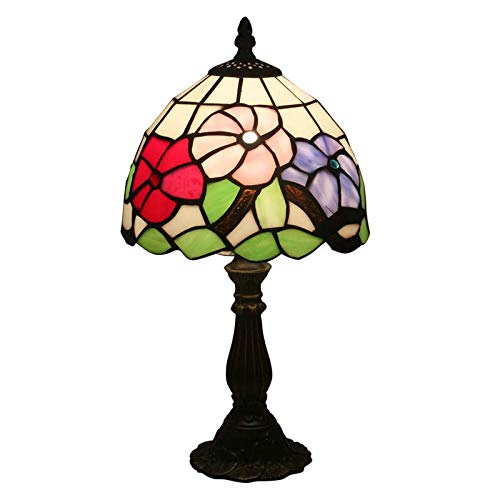 QCKDQ Lampe de Table de Style Tiffany 8 Pouces, Lampe de Table vitrail Fleur Tricolore avec Interrupteur Bouton Poussoir, Salon rétro, veilleuse décoration