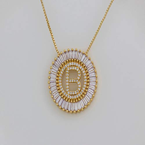 FQSCX Necklace Pendant Jewelry A-Z Initials 3 Colors Chooses Micro Pave CZ Letter Pendant Necklaces for Women Charm Chain Family Jewelry Gift R Gold