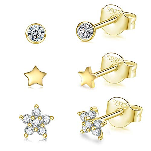 Sterling Silver Stud Earrings for Women 14K Gold Plated, 3 Pairs Tiny Round Cubic Zirconia Stud Earrings | Small Star Helix Earrings Dainty Flower Tragus Cartilage Studs Jewelry for Girls Men Teens