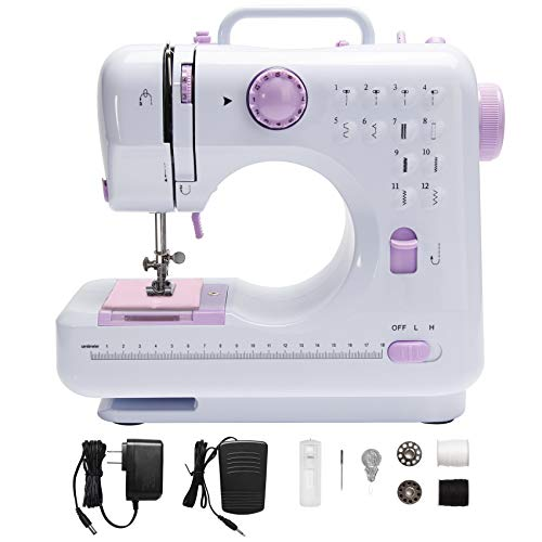 Sewing Machine Mini Multi-Purpose Crafting Mending Machine Household Portable 12 Built-in Stitches & Double Thread for Beginners Sewing Made Easy - White