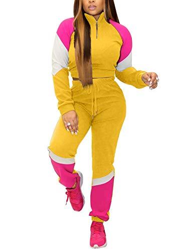 CORAFRITZ Chándal de 2 piezas para mujer, de moda, bloque de color, ropa deportiva de manga larga, cremallera de cuello alto, pantalones de entrenamiento, conjuntos de gimnasio