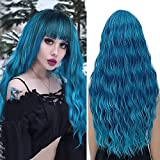 Pelucas azul mujer con flequillo pelo natural larga ondulada, YEESHEDO peluca de pelo largo suelto y rizada, wavy ombre blue wig para mujeres y niñas 28'