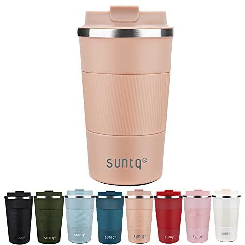SUNTQ Kaffeebecher to go Thermo aus Edelstahl - Thermobecher mit Gummierte Manschette Doppelwand Isoliert - Kaffeetasse mit Auslaufsicherem Deckel Wiederverwendbar 510ml Koral Rosa
