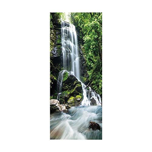 YFXGSTLI Tür Aufkleber Schöne Grüne Wald Wasserfall Wand Selbstklebende wasserdichte Tapete Aufkleber Wohnkultur Tür Wandaufkleber Poster 90X200Cm