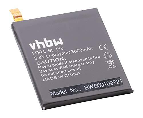 vhbw Li-Polymer batería 3000mAh (3.8V) para Smartphone, teléfono móvil LG G Flex 2 H950, H955, H959, LS996, US995 por BL-T16, EAC62718201.