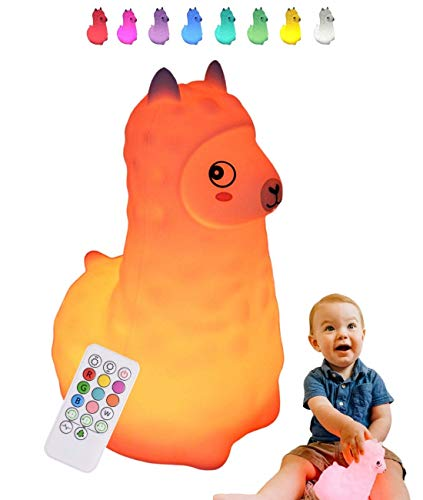 Baby Night Light for Kids Room: LED Kids Night Light Baby Lamp for Nursery | Llama Night Light with Remote | Multi Color Changing LED Llama Lamp | Miffy Lamp for Nursery | Silicone Night Light Kids