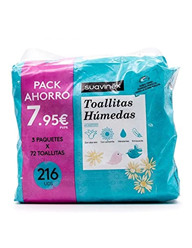 SUAVINEX TOALLITAS HUMEDAS TRIPLO 3X72= 216 UNIDADES