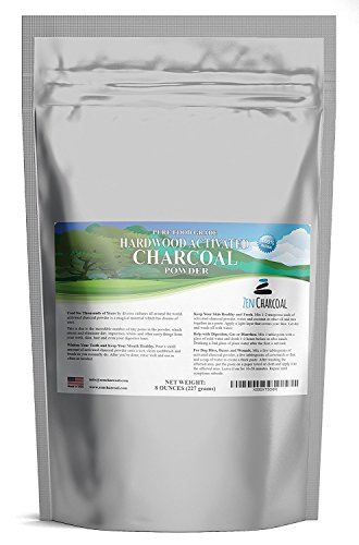 Hardwood Activated Charcoal Powder 100% from USA Trees 8 oz. All Natural. Whitens Teeth, Rejuvenates Skin and Hair, Detoxifies, Helps Digestion, Treats Poisoning, Bug Bites, Wounds. FREE scoop! by Zen Charcoal