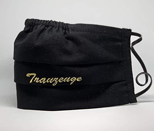 Trauzeuge Hochzeit Braut Mund und Nasenbedeckung waschbar schwarz bestickt 100% Baumwolle hergestellt in Deutschland mit Gummibändern