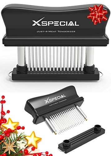 XSpecial Meat Tenderizer Tool 48 Blades Stainless Steel | Easy To Use & Clean - Turn Tough & Hard Meats Into Tender Buttery Goodness | No More Hammer Or Mallet Pounding | 100% Hassle-Free Guarantee