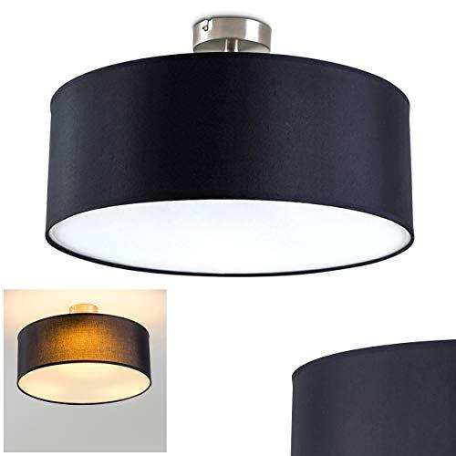 Deckenleuchte Foggia, runde Deckenlampe mit Lampenschirm aus Stoff in Schwarz/Weiß, Ø 40 cm, LED-fähig, 3 x E27-Fassung, 40 Watt, Retro-Design