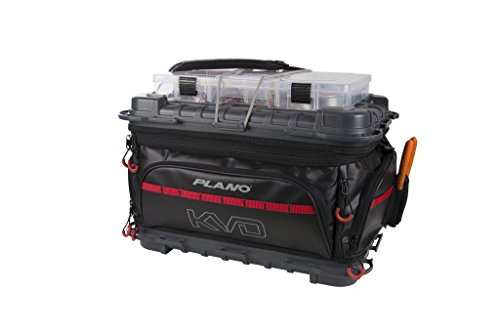 Plano Tackle Storage, KVD Signature Series 3700 Size Tackle Bag, Includes 5 Stowaway Tackle Storage Boxes, No-Slip Molded Bottom Design, Premium Tackle Storage, Black/Grey/Red (PLAB37700)